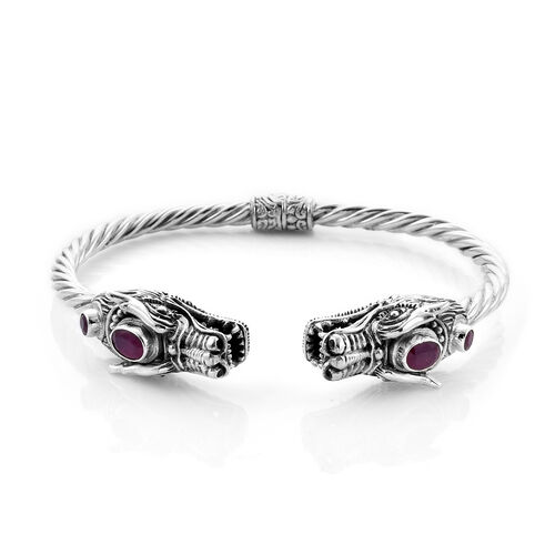 Royal Bali Collection - Ruby (Ovl 7x5mm) Dragon Head Bangle (Size 7.5) in Sterling Silver 3.00 Ct, S