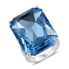 J Francis -Crystal from Swarovski Aquamarine Colour Crystal (Oct 27x18.5 mm) Ring in Platinum Overla