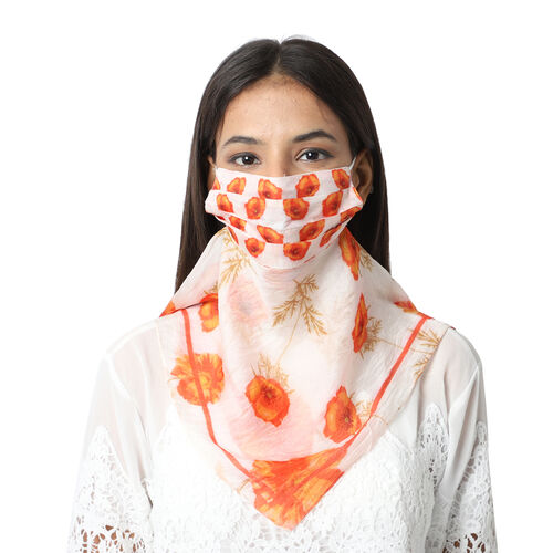 New Arrival- 2 in 1 Floral Pattern 100% Silk Scarf and Protective Face Covering in Cream and Orange Colour (Size 40x40 Cm)