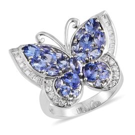 Designer Inspired- Tanzanite and Natural Cambodian Zircon Butterfly Ring in Platinum Overlay Sterlin