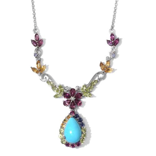 Arizona Sleeping Beauty Turquoise (Pear 4.50 Ct), Rhodolite Garnet and Multi Gemstone Necklace (Size