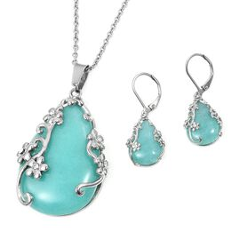 2 Pcs Set 70 Ct Russian Amazonite and White Crystal Solitaire Drop Earring and Pendant With Chain