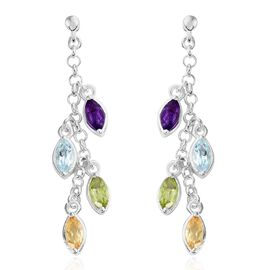 Sky Blue Topaz (Mrq), Amethyst, Citrine and Hebei Peridot Dangle Earrings (with Push Back) in Sterling Silver 2.000 Ct. Silver wt 4.29 Gms.