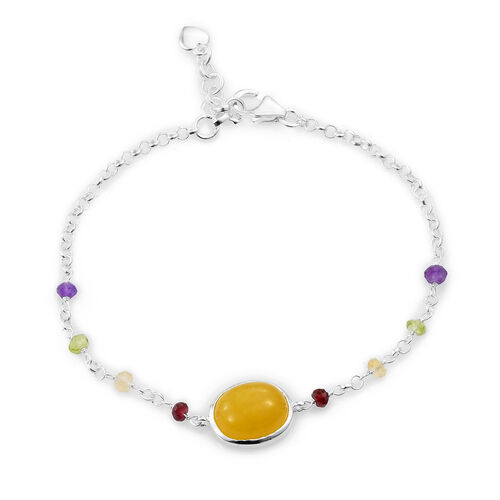 Yellow Jade (Ovl), Mozambique Garnet,Hebie Peridot, Amethyst and Citrine Bracelet (Size 7.5) in Sterling Silver 10.000 Ct.