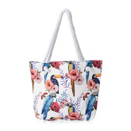 White and Multi Colour Bird Pattern Tote Bag (Size 35.5x42 Cm)
