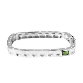 RACHEL GALLEY Russian Diopside (Cush) Bangle (Size 7.5) in Rhodium Overlay Sterling Silver 0.910 Ct,