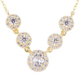 ELANZA Simulated Diamond Halo Design Station Necklace in Gold Plated Sterling Silver Size 18 Inch