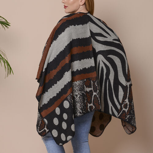 Stripes, Polka Dot and Snake Skin Pattern Ruana with Border (Size 75x135 Cm) - Black, Brown and Grey