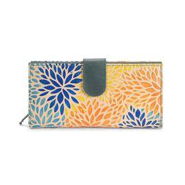 Super Auction - 100% Genuine Leather Hand Painted Multicolour Leaf RFID Wallet (Size 22.75x3x11.5 Cm