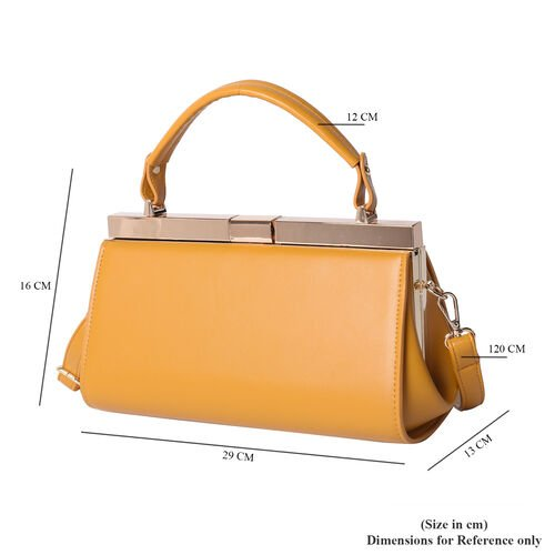 BOUTIQUE COLLECTION Yellow Clutch Bag with Detachable Shoulder Strap and Top Handle (Size 26x13x16 Cm)