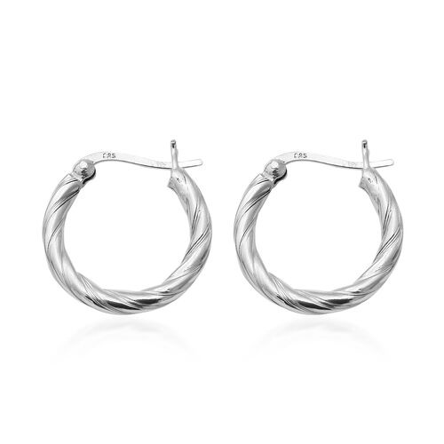 Rhodium Overlay Sterling Silver Twisted Hoop Earrings (with Clasp), Silver wt 3.40 Gms