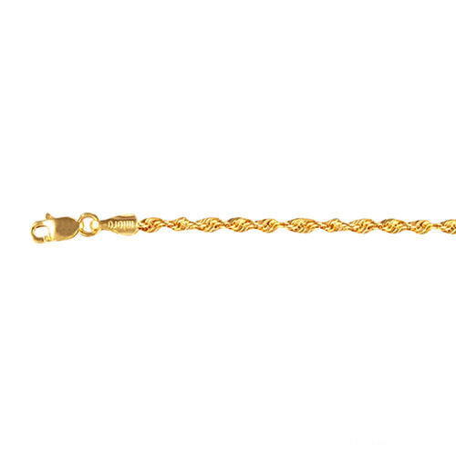 9K Yellow Gold Rope Chain (Size 24) with Lobster Clasp, Gold wt. 3.26 Gms