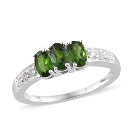One Time Deal-Russian Diopside (Ovl), White Topaz Trilogy Ring in Sterling Silver 1.000 Ct.