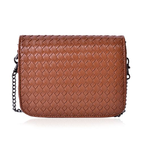 Chocolate Colour Weave Net Pattern Crossbody Bag with Removable Chain Strap (Size 18x13x5.5 Cm)