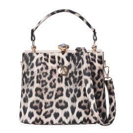 Leopard Pattern Tote Bag with Detachable Shoulder Strap (Size 22x14x18 Cm) - Brown