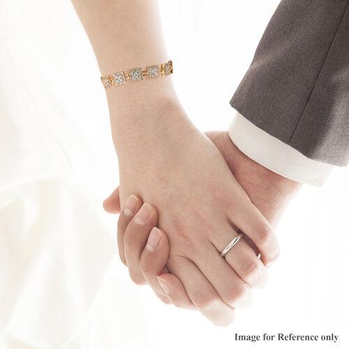 J Francis 14K Gold Overlay Sterling Silver Bracelet (Size 7.5) Made with SWAROVSKI ZIRCONIA 28.38 Ct.