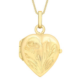 Flower Engraved Heart Locket Pendant in 9K Yellow Gold