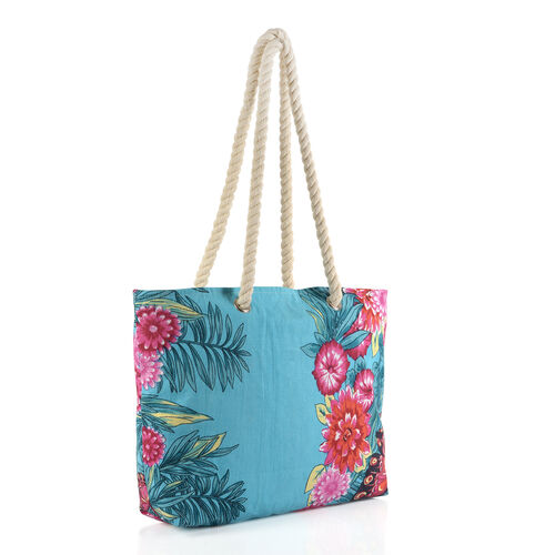 100% Cotton Red, Pink, Sky Blue and Multi Colour Floral, Paisley and Butterfly Printed Kaftan (Free Size), Bag (Size 50x40 Cm) and Flip Flop