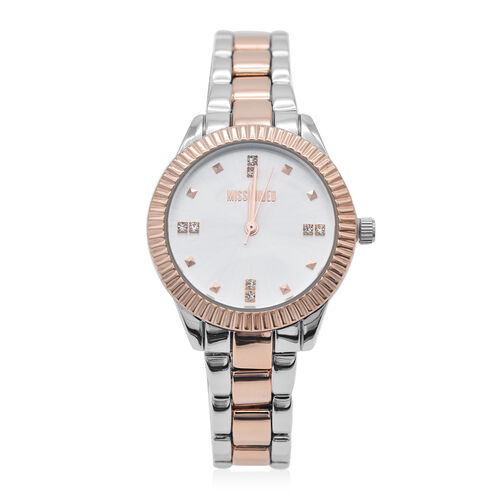 MISSGUIDED  Silver Dial Rose Gold Bezel Watch in Silver & Rose Gold Tone with Chain Strap