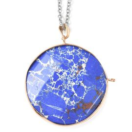 85 Carat Blue Imperial Jasper Circle Pendant with Chain 24 Inch