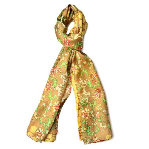 Close Out Deal- 100% Mulberry Silk Golden, Red and Multi Colour Floral Pattern Scarf (Size 180X110 C