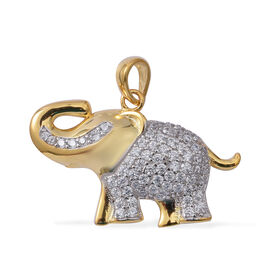 ELANZA Simulated Diamond (Rnd) Elephant Pendant in Rhodium and Yellow Gold Overlay Sterling Silver