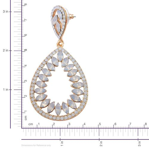 Designer Inspired-Simulated Ethiopian Welo Opal Teardrop Earrings (with Push Back) in Yellow Gold Tone
