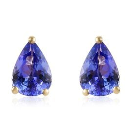 9K Yellow Gold AA Tanzanite (Pear) Stud Earrings (with Push Back) 1.25 Ct.