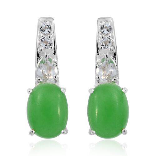 Green Jade (Ovl), White Topaz Earrings (with Push Back) in Sterling Silver 3.850 Ct.