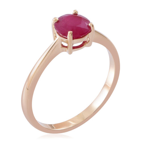 9K Yellow Gold 1 Ct AA Burmese Ruby Solitaire Ring
