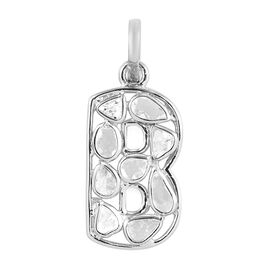 Artisan Crafted Polki Diamond Initial B Pendant in Platinum Overlay Sterling Silver 0.50 Ct.