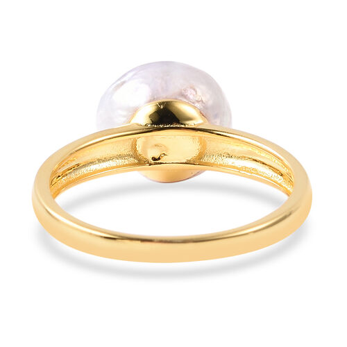 Baroque White Pearl Ring in Yellow Gold Plated Sterling Silver