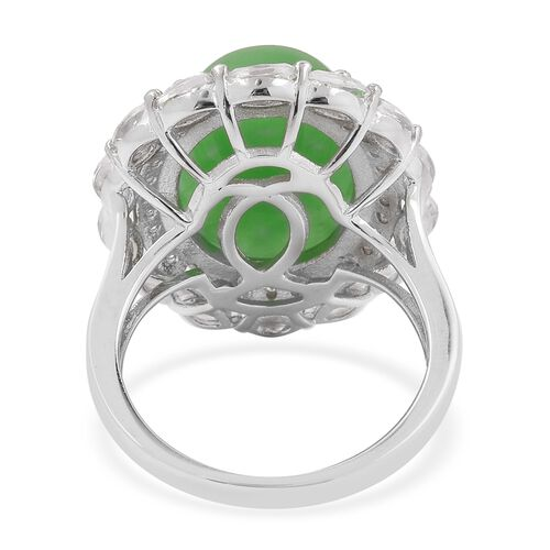 Green Jade (Ovl 11.50 Ct), White Topaz Ring in Rhodium Overlay Sterling Silver 13.05 Ct
