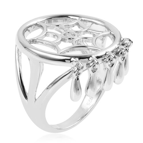 LucyQ Dreamcatcher Ring in Rhodium Plated Sterling Silver 6.58 Gms.
