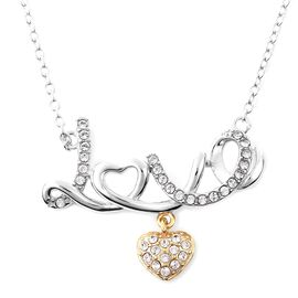 J Francis - Crystal from Swarovski White Crystal (Rnd) Love Necklace (Size 18) in Two Tone