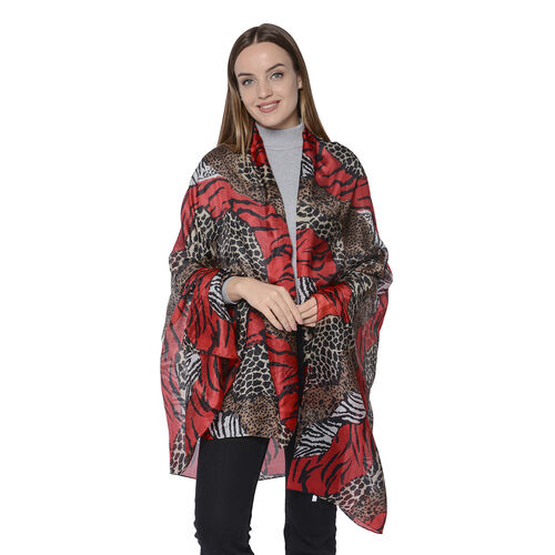 LA MAREY New Collection - 100% Mulberry Silk Animal Print Scarf (Size 180x110cm) - Red and Grey