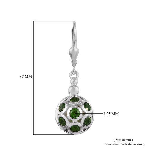 GP - Russian Diopside and Blue Sapphire Drop Lever Back Earrings in Platinum Overlay Sterling Silver 4.81 Ct.