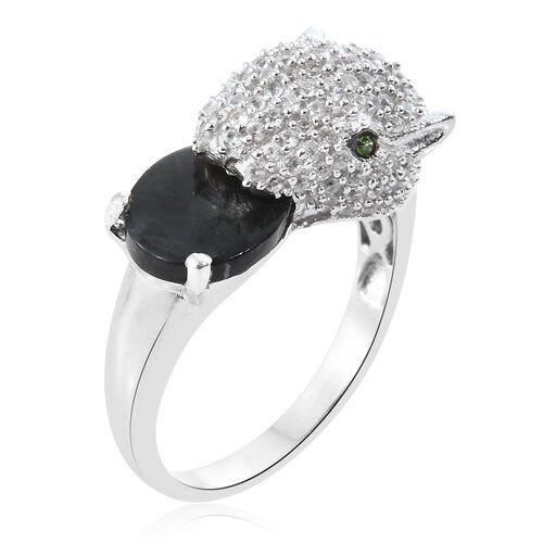 Natural Spectrolite (Ovl 2.08 Ct), Natural Cambodian Zircon and Russian Diopside Leopard Ring in Platinum Overlay Sterling Silver 3.750 Ct. Silver wt 5.60 Gms. Number of Gemstone 133