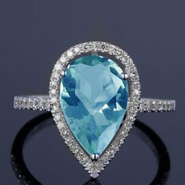 New York Close Out - Sky Blue Topaz (Pear 12x8 mm), Simulated Diamond Ring (Size N) in Rhodium Overlay Sterli