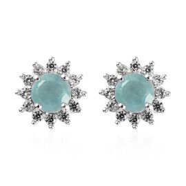 Grandidierite (Rnd), Natural Cambodian Zircon Earrings (with Push Back) in Platinum Overlay Sterling
