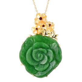 Carved Green Jade, Yellow Mother of Pearl and Mozambique Garnet Floral Pendant With Chain (Size 18)