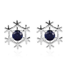 Masoala Sapphire (Rnd) Snowflake Stud Earrings (with Push Back) in Platinum Overlay Sterling Silver