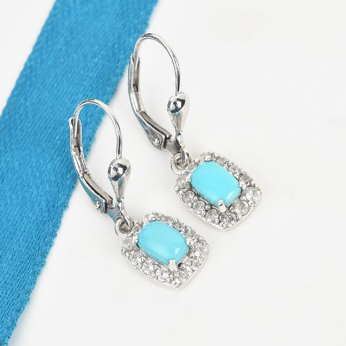 Arizona Sleeping Beauty Turquoise and Natural Cambodian Zircon Lever Back Halo Drop Earrings in Platinum Overlay Sterling Silver