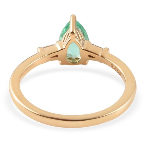 ILIANA 18K Yellow Gold AAA Boyaca Colombian Emerald (Pear), Diamond (SI/G-H) Ring 0.83 Ct.