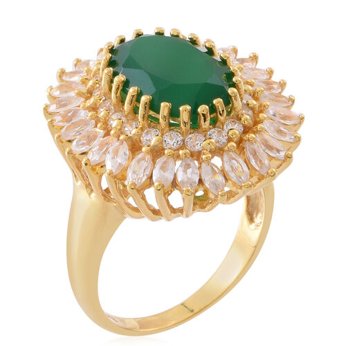 Designer Inspired-Verde Onyx (Ovl 5.25 Ct), Natural White Cambodian Zircon Ring in 14K Gold Overlay Sterling Silver 9.750 Ct. Silver wt 7.30 Gms.