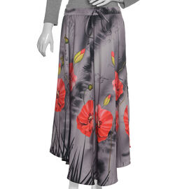 Poppy Flower Printed Flared Grey Skirt (Size 8-16)