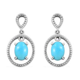 Arizona Sleeping Beauty Turquoise (Ovl) Earrings in Platinum Overlay Sterling Silver 1.250 Ct.