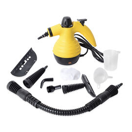 Multi-Purpose Handheld Pressurized Steam Cleaner with 9-Piece Accessories for Stain Removal, Carpets, Curtains, Bed Bug Control, Car Seats & UK Plug  Yellow Colour