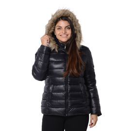 Women Puffer Jacket with Faux Fur Trim Hood and Two Pockets in Black Colour