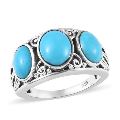 3.14 Ct Sleeping Beauty Turquoise Trilogy Ring in Sterling Silver